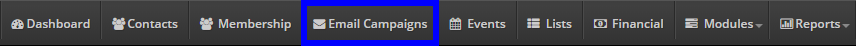 Image indicating the 'Email Campaigns' button from the bar at the top of the page.