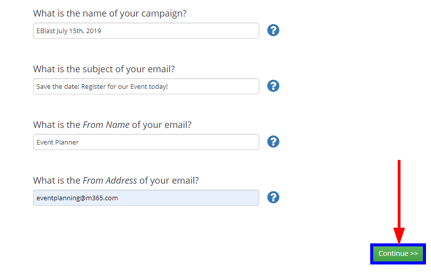 Image showing a sample page for the Email Campaign details, and indicating the 'Continue' button.