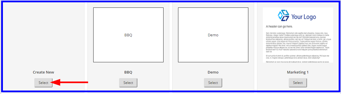 Image showing some Email Campaign templates, and indicating the 'Select' button under the area for a new template.