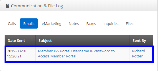 Image showing a sample Communication & File Log, with the username/password email listed.