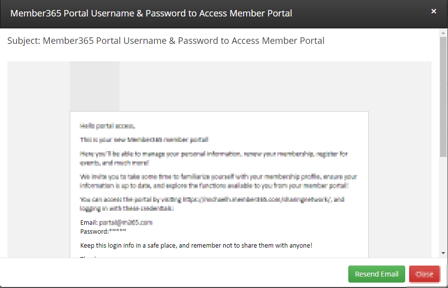 Image showing a sample username/password email. There's a button to resend the email at the bottom of the window.