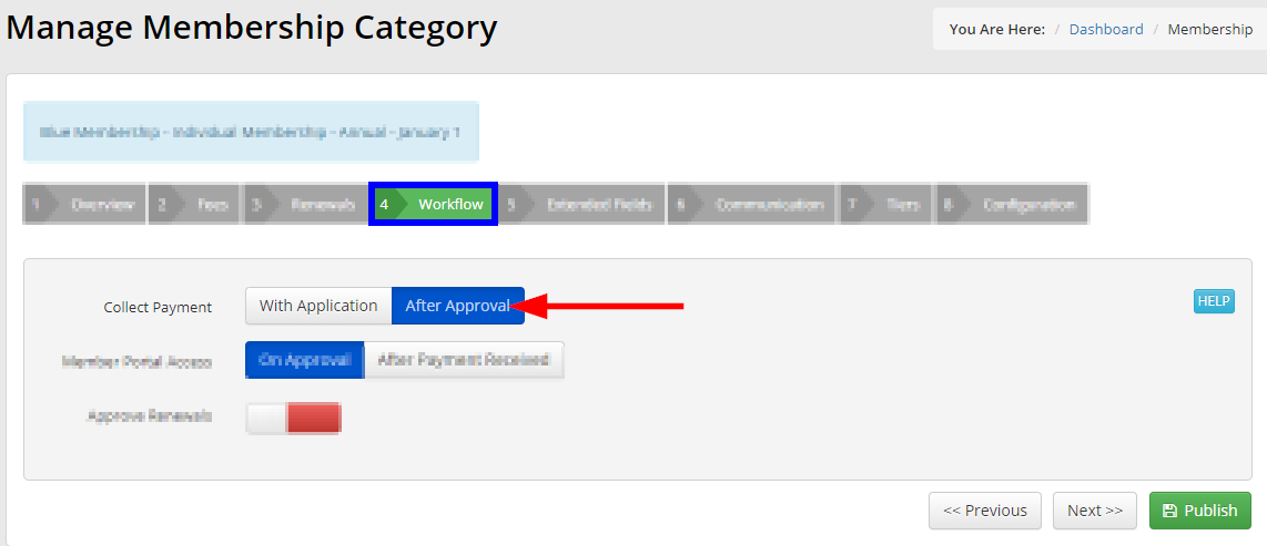Image showing the 'Workflow' tab of a Membership Category, indicating the option to collect payment after approval.
