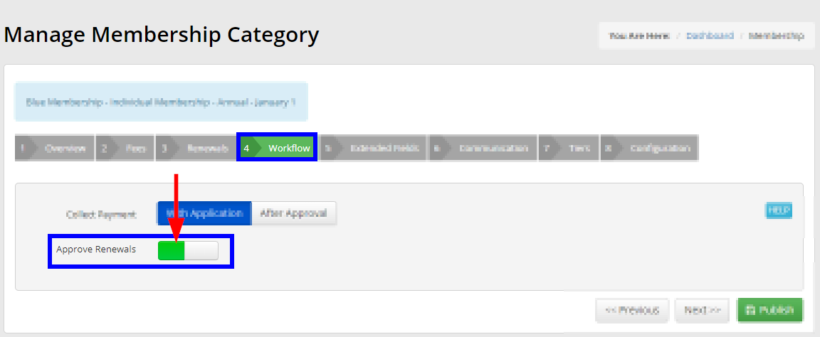 Image showing the 'Workflow' tab for a Membership Category, with 'Approve Renewals' toggled on.