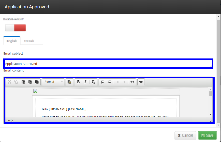 Image showing the edit window when opening an Automated Membership Email to edit. Pointing out the fields for the subject line, and the content, that can both be edited.