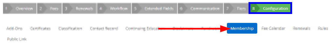Image showing the 'Configuration' tab and 'Membership' sub-tab of a sample Membership Category.