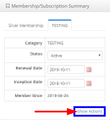 Image indicating the 'Show Actions' link at the bottom of the 'Membership/Subscription Summary' box on a Contact Record.