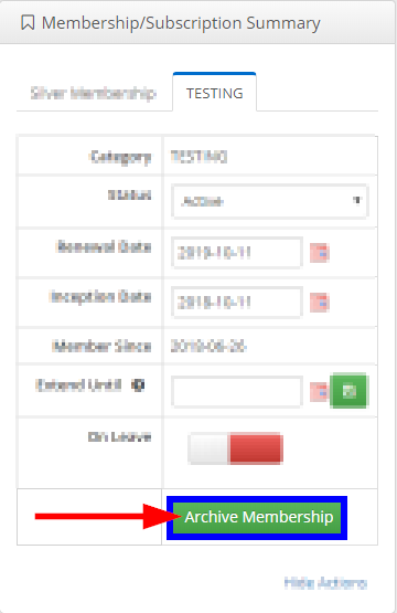 Image indicating the 'Archive Membership' button under the 'Membership/Subscription Summary' box that appears after clicking the 'Show Actions' link.