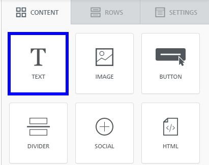 Image indicating 'Text' from the set of content options when building an Email Campaign.