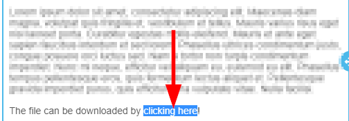 Image showing that we've highlighted a piece of text that reads 'clicking here'