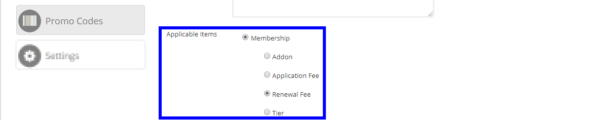 Image showing that we've selected this Membership Promo Code to act as a discount for the Renewal Fee.