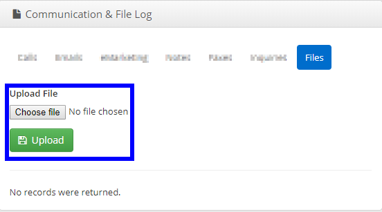 Image showing the 'Files' tab of a sample Communication & File log.