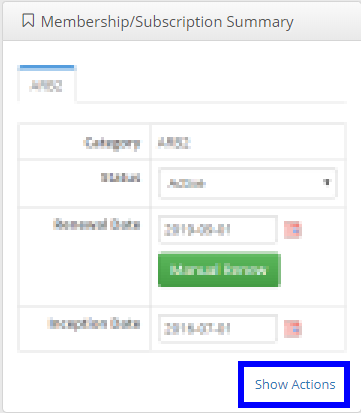 Image showing the 'Show Actions' button on a sample Contact Record under the 'Membership/Subscription Summary' section.