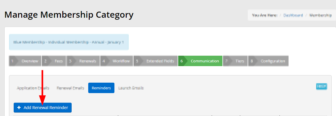 Image showing the '+Add Renewal Reminder' button seen when managing the Renewal Reminders for your Membership Category.