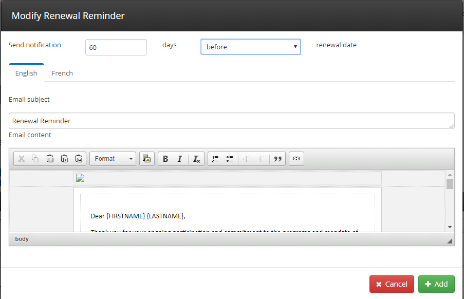 Image showing the window seen when editing a Renewal Reminder. The fields to be edited are the date for sending, the subject line, and the content.