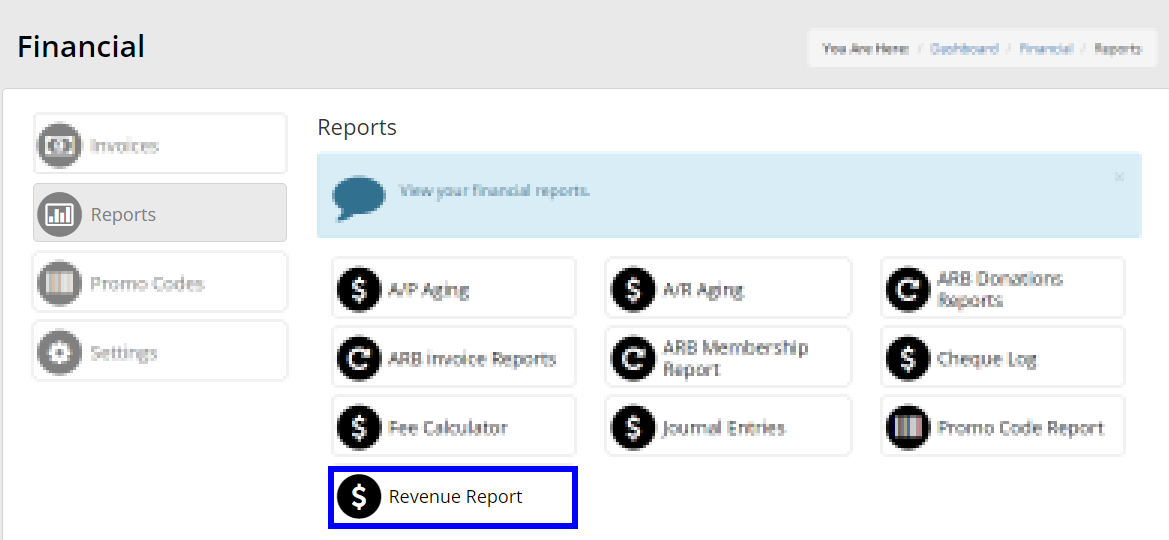 Image showing the list of financial reports, and indicating Revenue Report from the list.