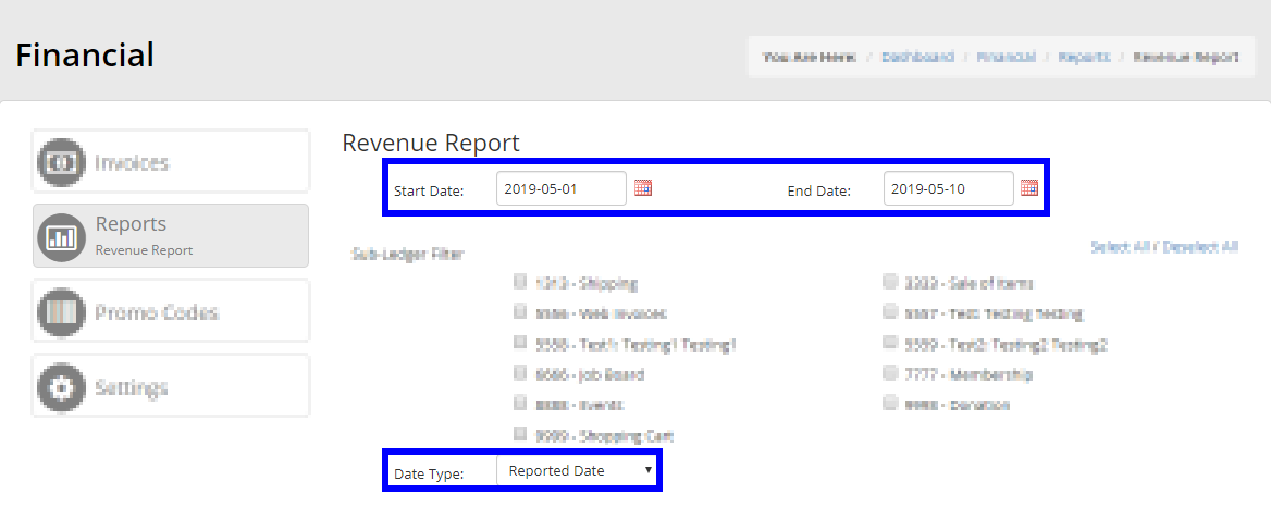 Image showing the Revenue Report page, indicating the areas for Date Range and Date Type.