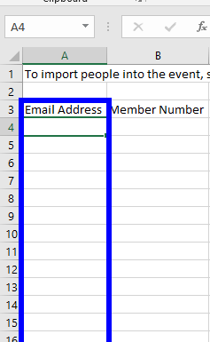 Image indicating the 'Email Addresses' column in the Event Import excel file.