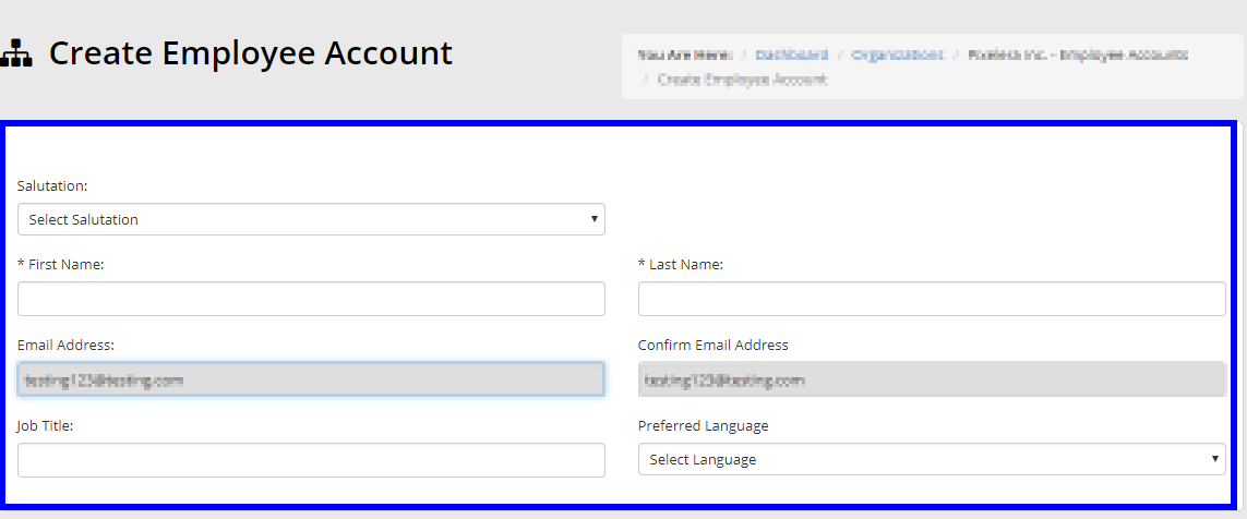 Image showing the page to configure the contact information of the new Employee Account.