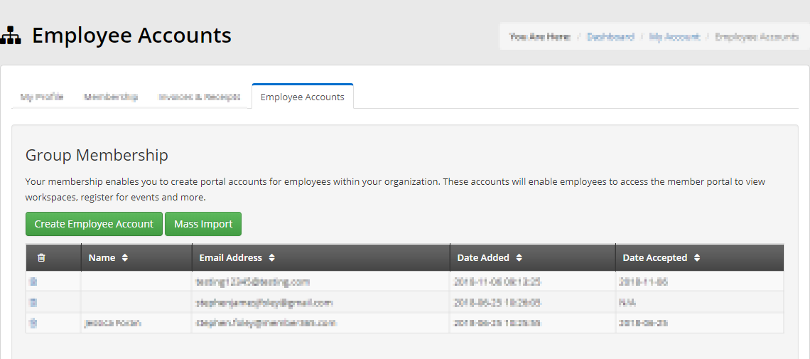 Image displaying what the Primary Contact sees when clicking the 'Employee Accounts' button in the previous step. Memberships for which they are the Primary Contact will be displayed.