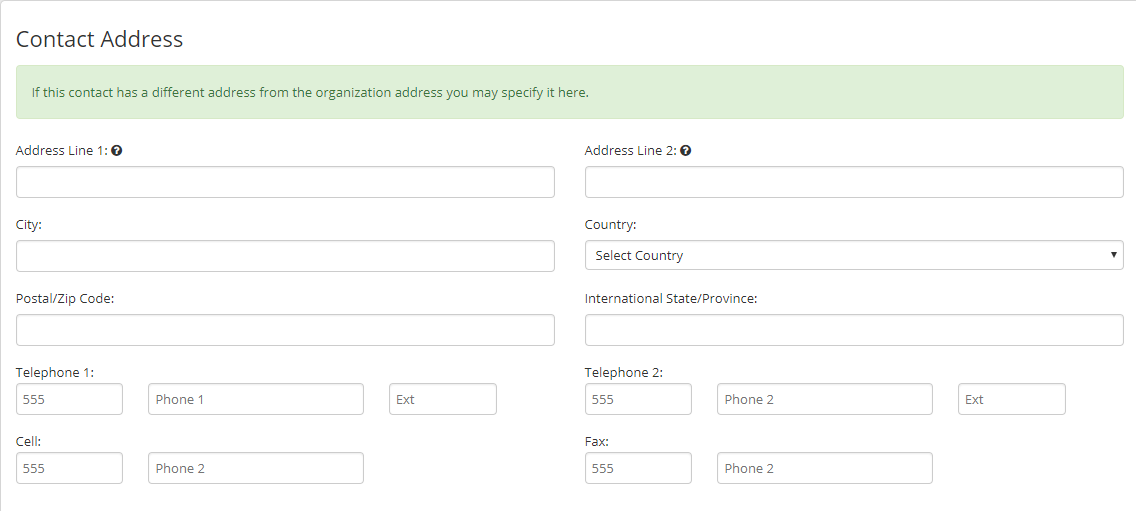 Image showing the Address fields when adding an Employee Account.