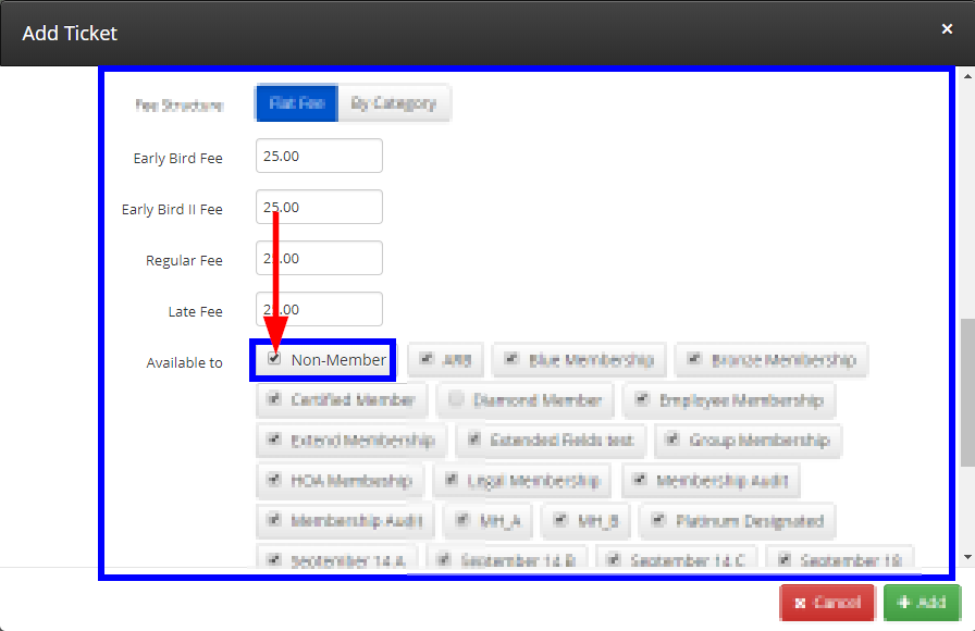 Image showing a list of Membership Categories when configuring a ticket, with Non-Member highlighted and checked off.