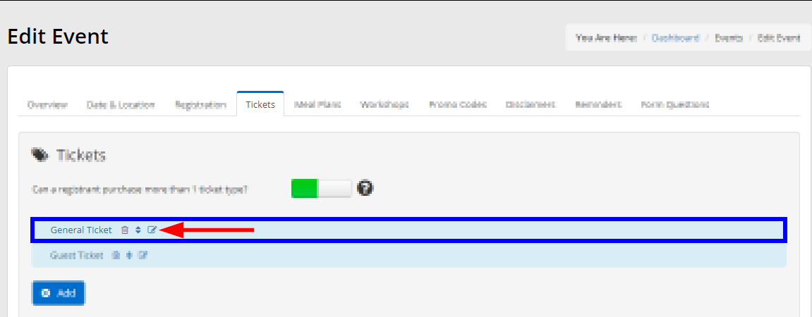 Image showing a list of tickets, and the button to edit an existing ticket.