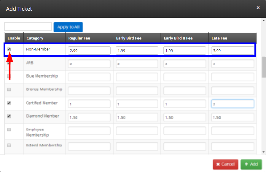 Image showing how 'Fee Categories' for Event Tickets looks, and showing the Non-Member row filled out and checked off.
