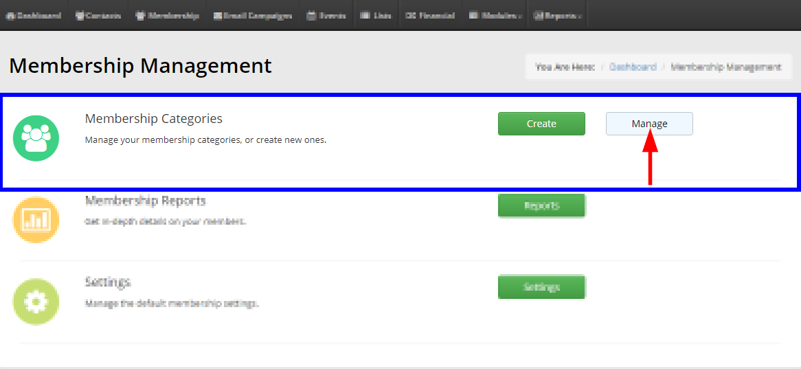 Image showing the 'Manage' button next to 'Membership Categories',
