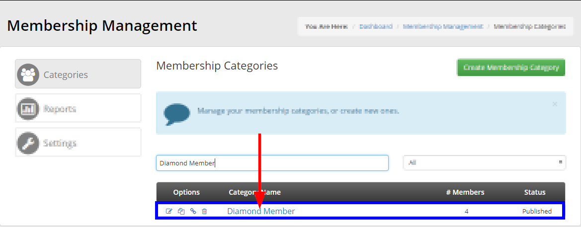 Image showing an example of using the search bar to locate a Membership Category, and indicating that you can click its name to edit its settings.