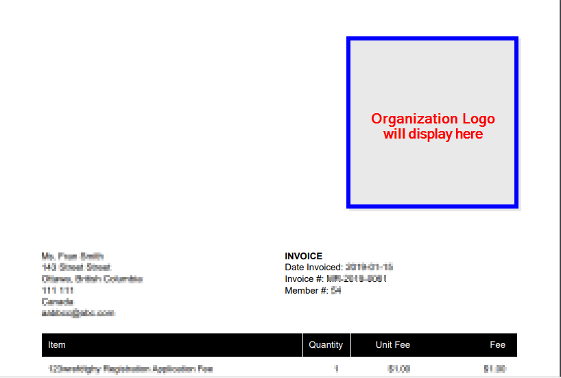 Image indicating where the Organization Logo would display using an example Invoice.