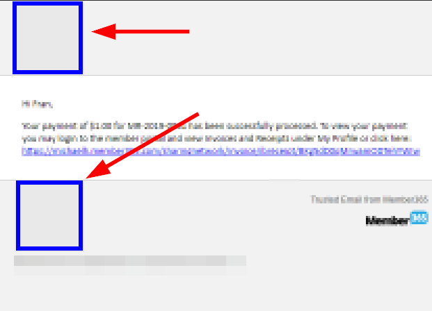 Image showing an example system email, and where the Organization Logo will display - at the top and bottom of the email.