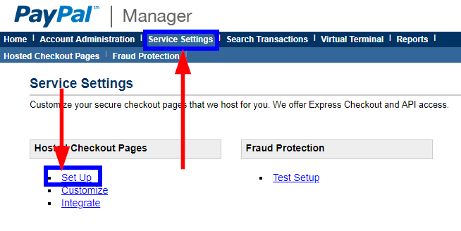 Image indicating the 'Service Settings' tab when logged into PayPal, and indicating the 'Set Up' link within that tab.