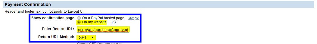 Image showing the Payment Confirmation section configured as specified in step #14.