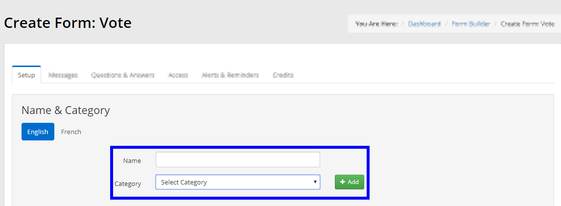 Image showing the Setup tab of a Voting Form, indicating the fields to specify the name and category of the form.
