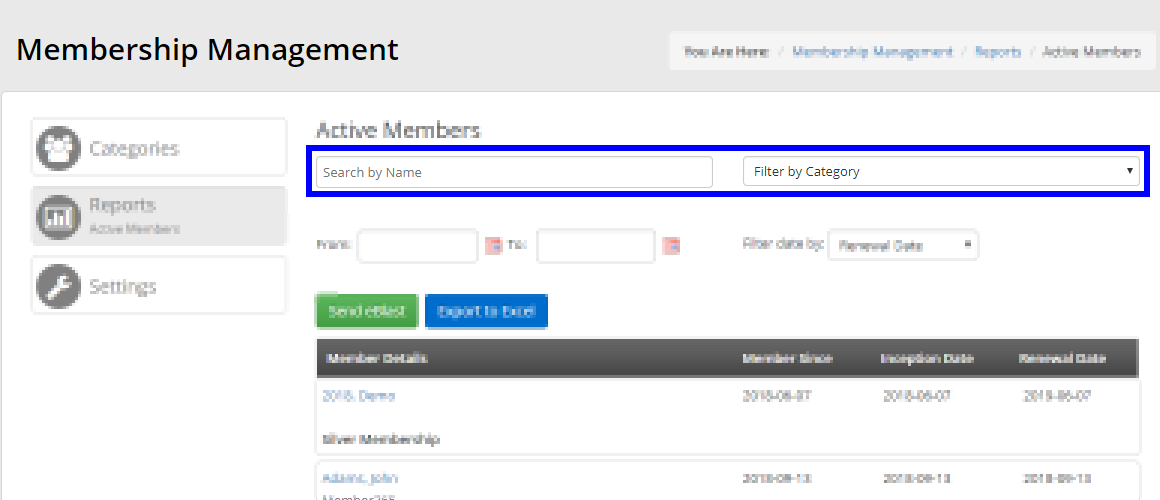 Filter by name and membership category.
