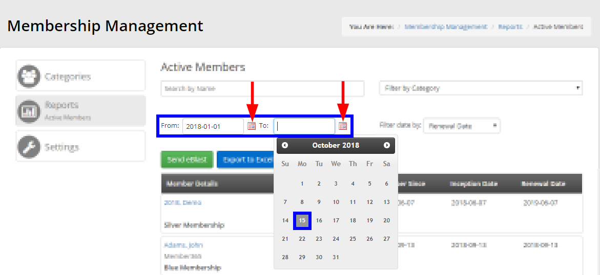 Click the calendar icons to select the range of dates for results.