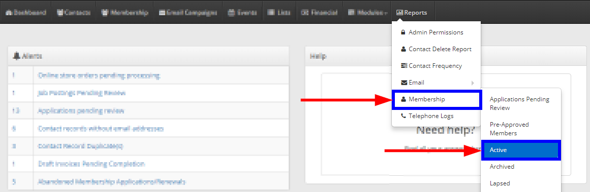 Image showing the drop-down menus that display after clicking 'Reports', and hovering over 'Membership'. Click 'Active' to access the Active Members reports.