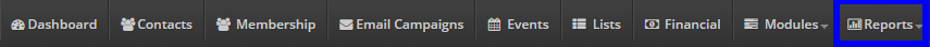 Image showing the 'Reports' button at the bar on the top of the Member365 Administrator Dashboard.