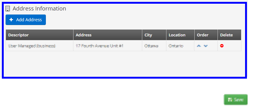 Image showing the 'Address Information' section on the 'Edit Contact' page.
