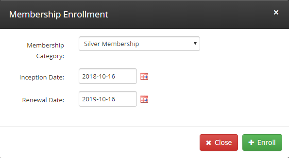Specify your desired 'Membership Category', 'Inception Date', and 'Renewal Date'. Click '+ Enroll' to confirm.
