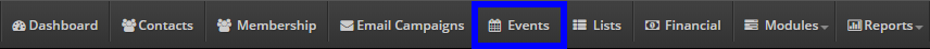 Image showing the 'Events' button on the bar at the top of the page.