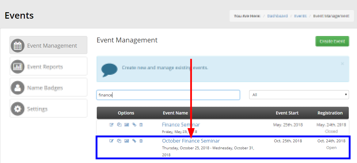 Use the search bar to find your event, or just locate it from the list. Click the event's name.