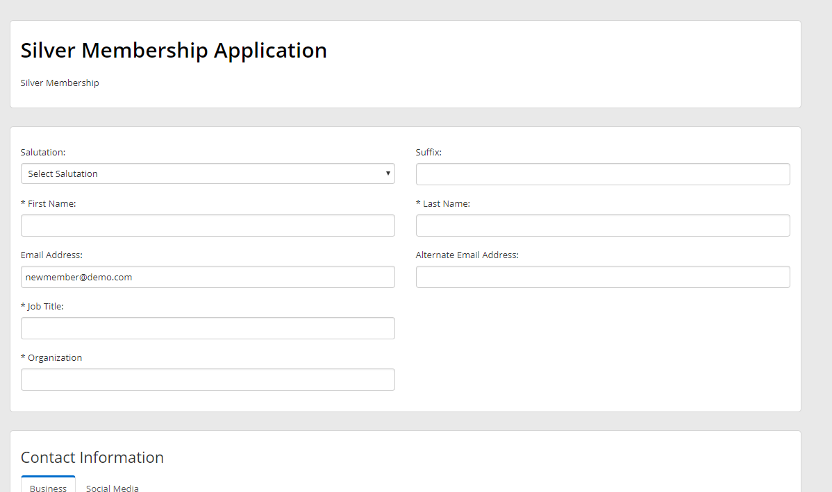 The application page for the selected Membership Category.