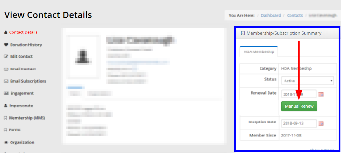 Image indicating the 'Manual Renew' button on the right of the Contact Record page.