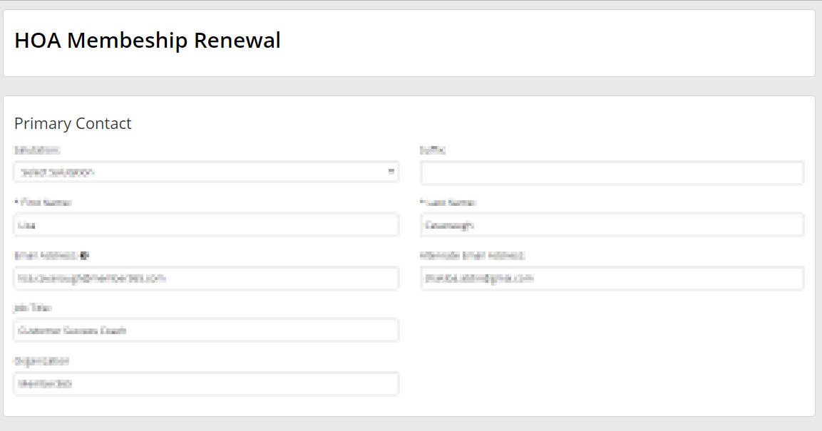 Image of the manual renewal page. You are impersonating the contact.