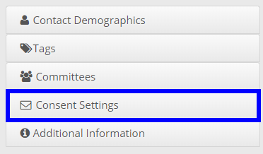 Image indicating the 'Consent Settings' button on the right-hand side of the page.