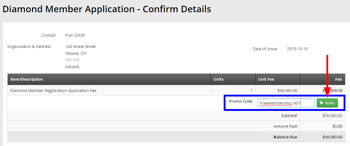 Image showing area to enter Promo Code on payment screen. Paste promo code in the box, then click the 'Apply' button.