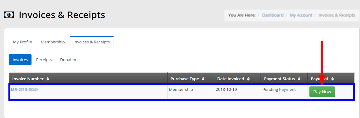 Click the 'Pay Now' button next to the invoice you wish to waive.