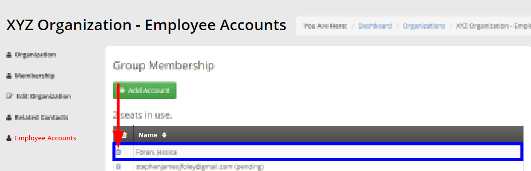 Image showing the 'Employee Accounts' list and indicating the trash icon next to a contact's name.