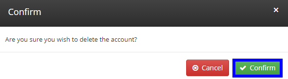 Image of the confirmation box that appears when deleting an Employee Account. Click 'Confirm' to delete the Employee Account.